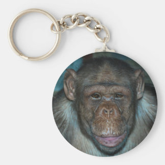 Chimp on a Key Ring Basic Round Button Keychain