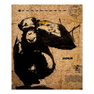Chimp pointing bananna to head poster