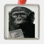 Chimp Reading Christmas Ornament