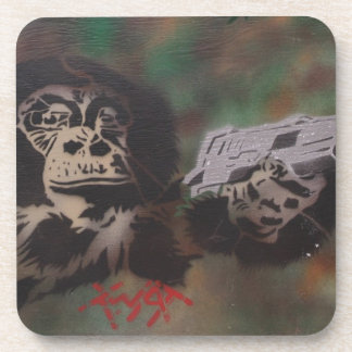Chimp shooting drink coasters