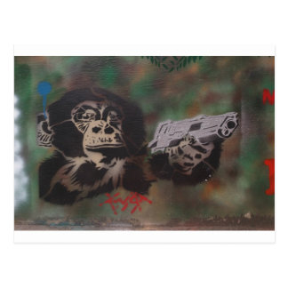 Chimp shooting post cards