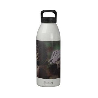Chimp shooting water bottle