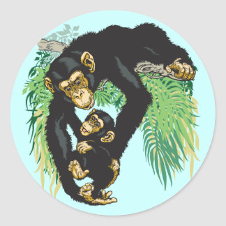 chimp with baby classic round sticker