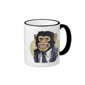 Chimp with Suit by Mudge Studios Ringer Mug
