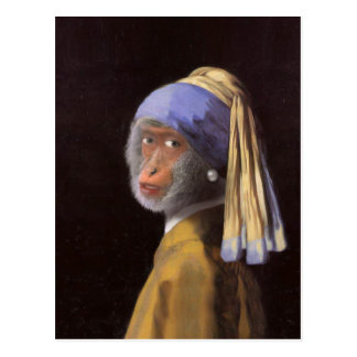 Chimp With The Pearl Earring Post Card
