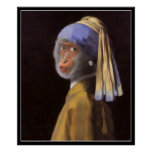 Chimp With The Pearl Earring Poster