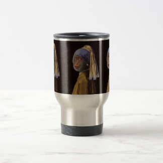 Chimp With The Pearl Earring Travel Mug
