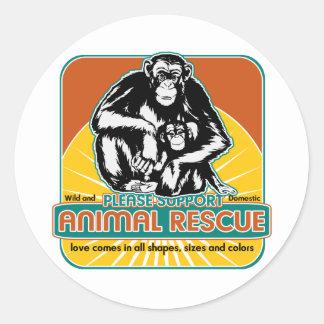 Chimpancé animal del rescate etiquetas redondas