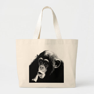 Chimpancé blanco negro bolsa tela grande