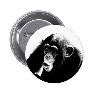Chimpancé blanco negro pin redondo de 2 pulgadas