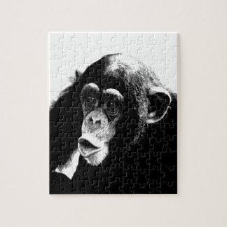 Chimpancé blanco negro puzzle