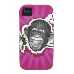 Chimpancé con un color de rosa en su boca iPhone 4/4S carcasa