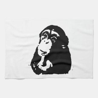 Chimpancé de pensamiento del arte pop toallas de cocina