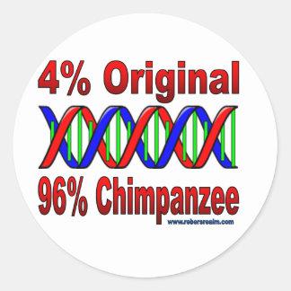 chimpancé del 96% pegatina redonda