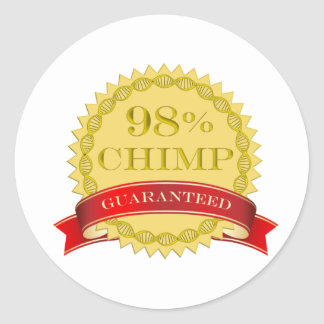 Chimpancé del 98% - garantizado pegatina redonda