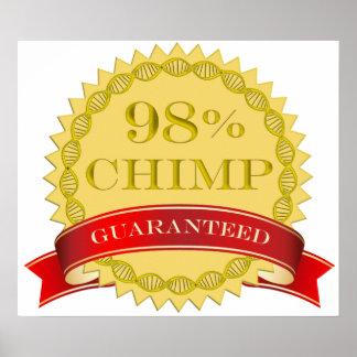 Chimpancé del 98% - garantizado póster