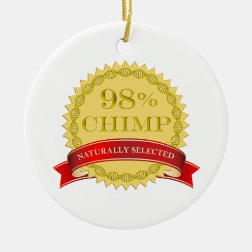 Chimpancé del 98% - seleccionado naturalmente adorno redondo de cerámica