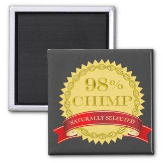 Chimpancé del 98% - seleccionado naturalmente imán cuadrado