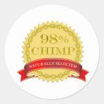 Chimpancé del 98% - seleccionado naturalmente etiqueta redonda