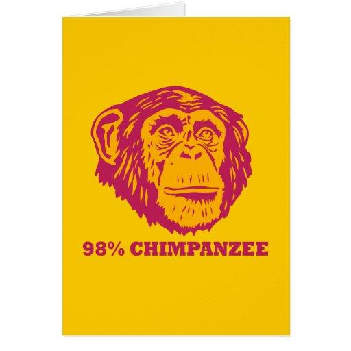Chimpancé del 98% tarjeta de felicitación