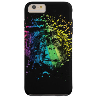 Chimpancé del arco iris en negro funda de iPhone 6 plus tough