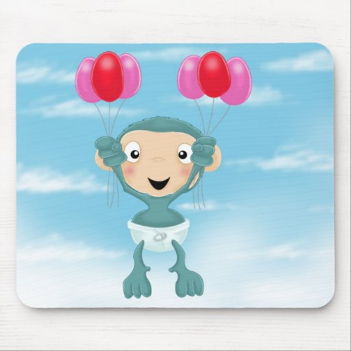 chimpancé del bebé con los globos tapete de ratón