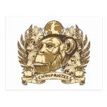Chimpancé del Grunge Tarjeta Postal