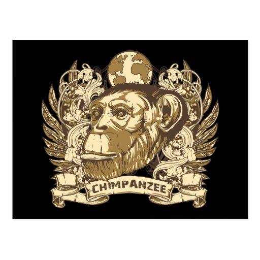 Chimpancé del Grunge Tarjetas Postales