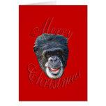 Chimpancé del navidad tarjetón