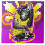 Chimpancé DJ Azulejo Cuadrado Grande