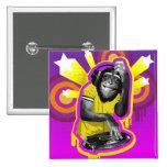 Chimpancé DJ Pin Cuadrada 5 Cm