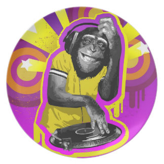 Chimpancé DJ Platos De Comidas