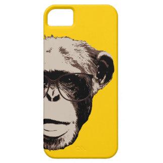Chimpancé Geeky en caja amarilla del iPhone 5 de l iPhone 5 Cárcasas