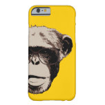 Chimpancé Geeky en caja amarilla del iPhone 6 de Funda De iPhone 6 Barely There