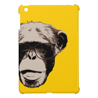 Chimpancé Geeky en caso del iPad amarillo de los v