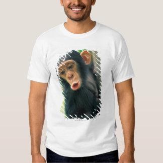 Chimpancé joven (trogloditas de la cacerola) playeras