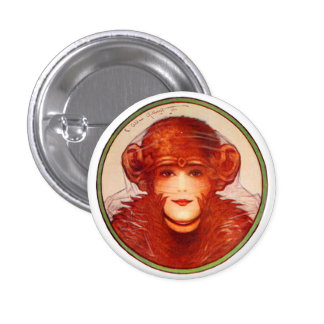 ¿Chimpancé o mujer retro de la ilusión del kitsch  Pin Redondo De 1 Pulgada
