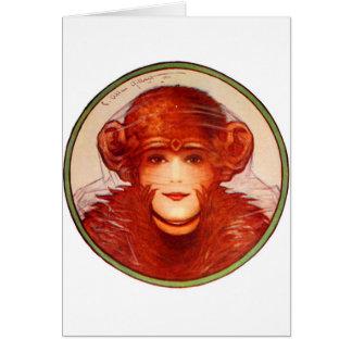 ¿Chimpancé o mujer retro de la ilusión del kitsch Tarjeta De Felicitación