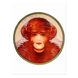 ¿Chimpancé o mujer retro de la ilusión del kitsch Tarjetas Postales