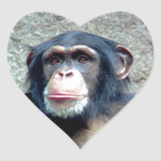 Chimpancé Pegatina En Forma De Corazón