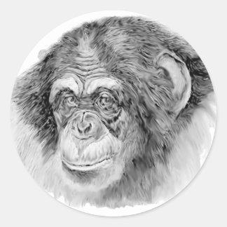 Chimpancé Pegatina Redonda