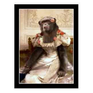 Chimpancé precioso en vestido tarjeta postal