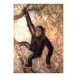 Chimpancé que cuelga en árbol invitación 12,7 x 17,8 cm