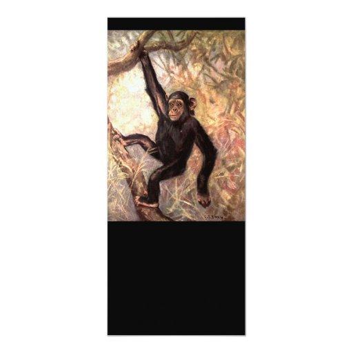 """Chimpancé que cuelga en árbol invitación 4"""" x 9.25"""""""