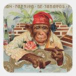 Chimpancé retro del EL Ricolo del cigarro del Pegatina Cuadrada