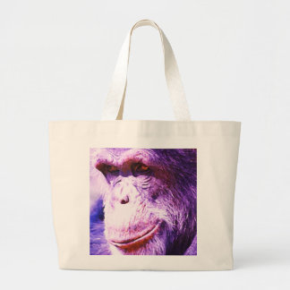 Chimpancé sonriente bolsa tela grande