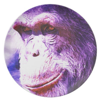 Chimpancé sonriente plato
