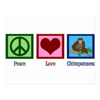 Chimpancés del amor de la paz tarjetas postales