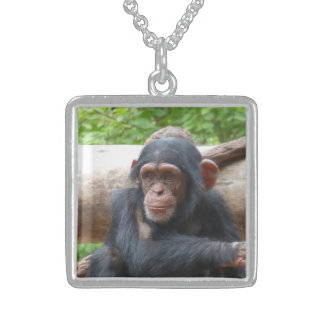 Chimpanzee_2015_0504 Sterling Silver Necklace
