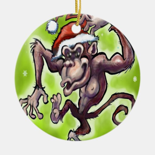 Chimpanzee Christmas Double-Sided Ceramic Round Christmas Ornament